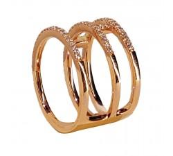 Bague JO'S - 53986A4 - 3 anneaux liés - or rose