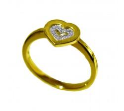 Bague Beheyt coeur - or jaune et diamants - 42802/A