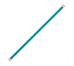 Cordon Fred en corderie turquoise embout plaqué or rose 1 tour - ref: 6B0219