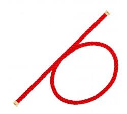 Cordon Fred en corderie rouge embout plaqué or jaune 2 tours - ref: 6B0263