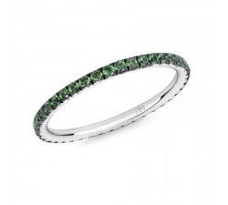 Skinny ring Verifine eternity R16 white gold green garnet