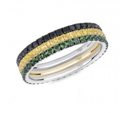 Skinny ring Verifine eternity R04.R14.R16 Queen Bee black diamond, yellow sapphir and green granet white and yellow gold