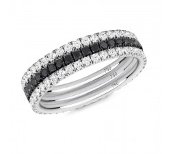 Skinny ring Verifine eternity R01.R01.R04 black and white Black and white diamond white gold