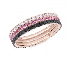 Skinny ring Verifine eternity R03.R06.R12 Three Roses Black and white diamond, pink sapphire pink gold
