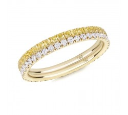 Skinny ring Verifine eternity R02.R14 yellow and white pair white diamond, yellow sapphire yellow gold