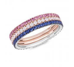 Skinny ring Verifine eternity R03.R07.R09 The Duchess white diamond, pink and blue sapphire white and pink gold