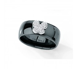Bague One More - Céramique noir et papillon diamants - 49250/A