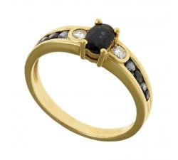 Bague JO'S - Or jaune saphire et diamant