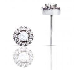 Boucles d'oreilles One More - rondes or gris diamant et serti diamants - 47607/A