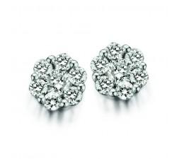 Boucles d'oreilles One More - ronde or gris et diamants - petit modèle - 93BC19/A