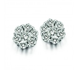 Boucles d'oreilles One More - ronde or gris et diamants