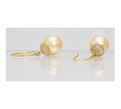 Boucles d'oreilles One More - Perle rose, or jaune et diamants - 45399/A
