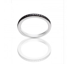 Bague One More - Or gris et diamants noir - 46576/A2