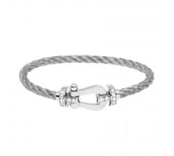 Bracelet Fred - Force 10 - Or gris semi pavé diamants blancs - 0B0026