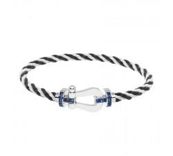 Bracelet Fred - Force 10 - Or gris semi pavée saphirs bleus - 0B0035