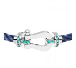Bracelet Fred - Force 10 - Or gris semi pavée tourmalines paraiba - 0B0037