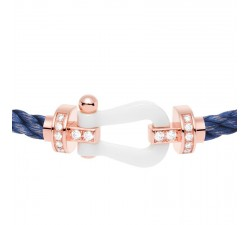 Bracelet Fred - Force 10 - Céramique or rose semi pavée diamants blancs - 0B0040
