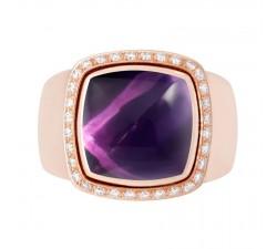 Bague Fred - Pain de Sucre Interchangeable - Or rose pavé diamant blanc - petit modèle - 4B0755
