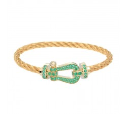 Bracelet Fred - Force 10 - Or jaune pavée émeraudes - 0J0001