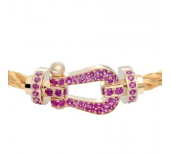 Bracelet Fred - Force 10 - Or jaune pavée rubis - 0B0065