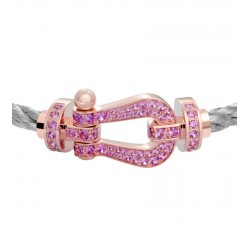 Bracelet Fred - Force 10 - Or rose pavée saphirs rose - 0B0066