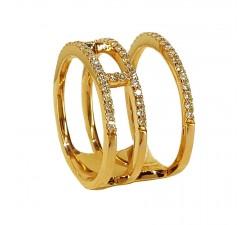 Bague JO'S - 54984A1 - 3 anneaux liés - or jaune