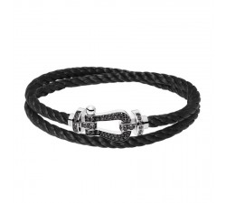 Bracelet Fred - Force 10 - Or gris pavée diamants noirs - 0B0064-6B0166